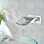 6 Wall Mounted Glass Waterfall Faucet In Bathroom