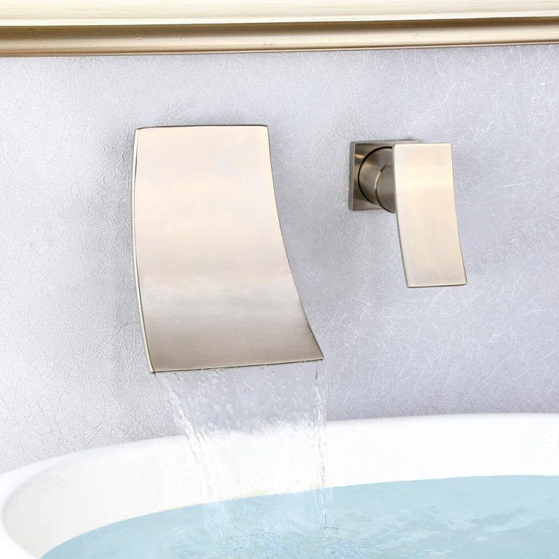 7 brushed nickel wall mounted waterfall bathroom faucet widespread