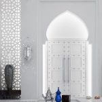 Moroccan Arch, White Wall, Moroccan Sconce, Moroccan Carving On The Wall, White Floor, Floor Table