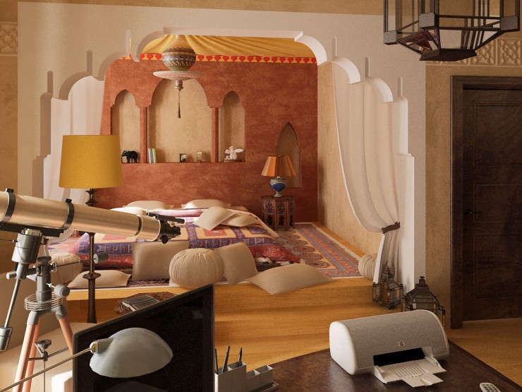 Moroccan bedroom, wooden floor, bed on the floor, brown wall with moroccan archs, moroccan arch, yellow lamp, moroccan pendant, patterned bedding