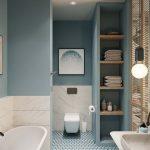 Bathroom, Blue Wall, Blue Tiny Hexagonal Floor Tiles, Blue Built In Shelves, White Floating Toilte, White Tub, White Marble, White Marble Sink, Pendant