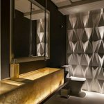 Bathroom, Grey Floor, Grey Hexagonal Textured Wall, Golden Marble Floating Vanity, Dark Brown Wall, Mirror, Grey Toilet