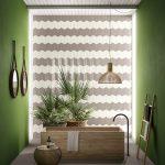 Bathroom, Grey Floor, Wooden Rectangular Tub, Black Faucet, Grey Wall,