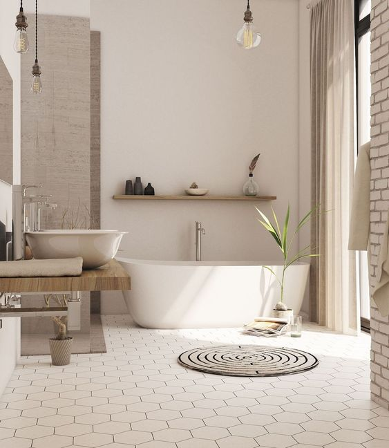 bathroom, hexagonal floor tiles, white wall, white tub, brown curtain, low wooden vanity, white sink, wooden floating shelves, clear bulbs pendant, open brick posts