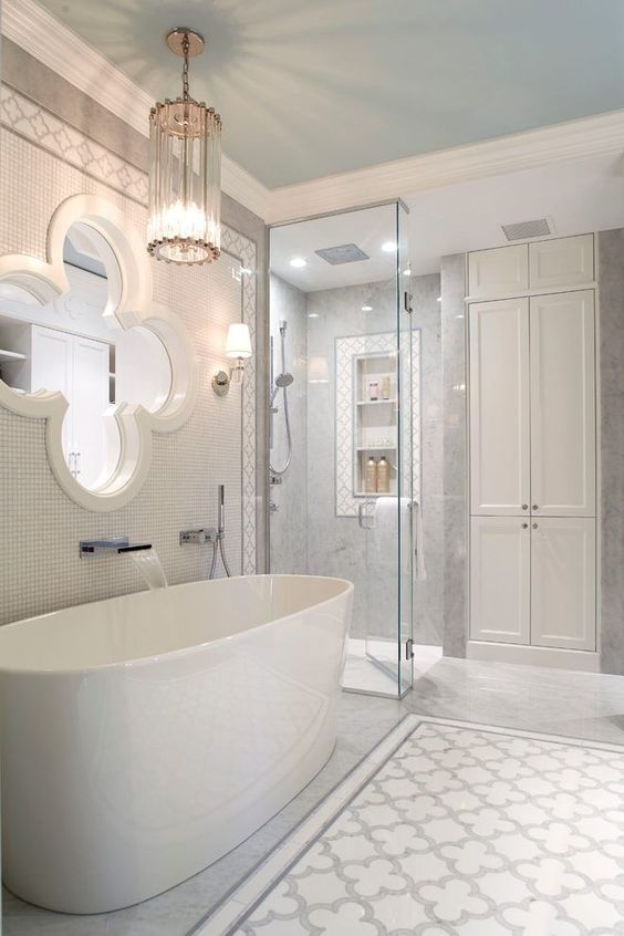 bathroom, marble floor, marble patterned floor, white marble wall, flower glass widow, clear glass pendant, white cupboard, white tub