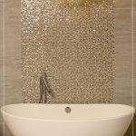 Bathroom, Marble Floor, Marble Wall, Golden Mosaic Tiles, Bulbs Pendant, White Tub