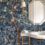 Bathroom, Mosaic Tiles On Wall With Blue Color, Tree And Flower Pattern, White Marble Sink, Octagonal Mirror, White Sconce