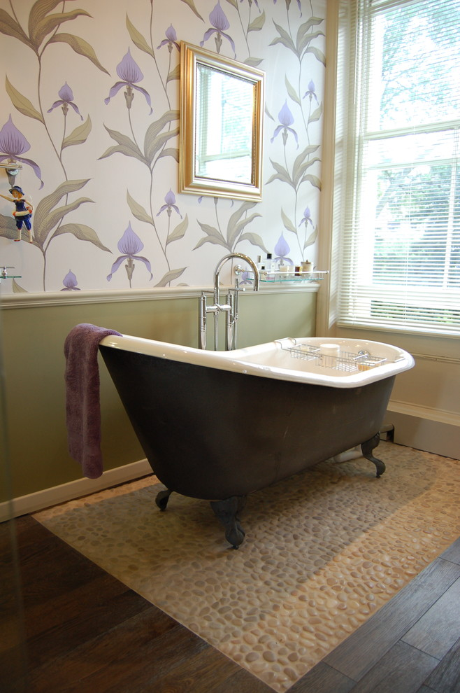 bathroom wall decorating ideas black freestanding tub pebble and floor tile wallpaper frame tun filler window shutters