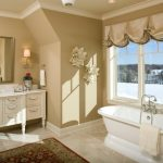 Bathroom Wall Decorating Ideas Freestanding Tub Glass Windows Valances Tub Filler Mediterranean Rug Vanity Sink Marble Countertop Wall Mirror Wall Sconce