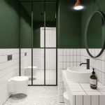 Bathroom, White Wall Tiles, Green Painted Wall, Mirror Partition, White Terrazzo Floor, White Tiles Vanity, White Round Sink, White Floating Toilet, Round Mirror
