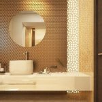 Bathroom, Yellow Brown Floor, Floating Marble Vanity, Marble Round Sink, Yellow Patterned Wall, Brown Textured Wall, Round Mirro