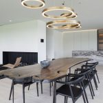 Black Wooden Chairs, Wooden Slab Table, Wooden Floor, Golden Ring Pendant