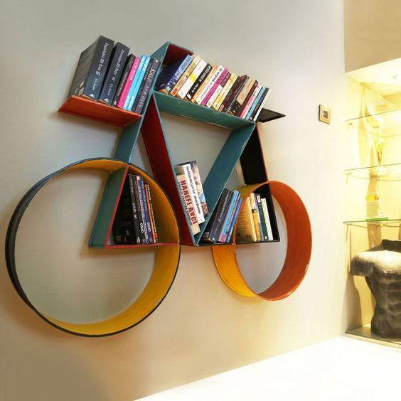 colorful floating shelves shaped like a bike