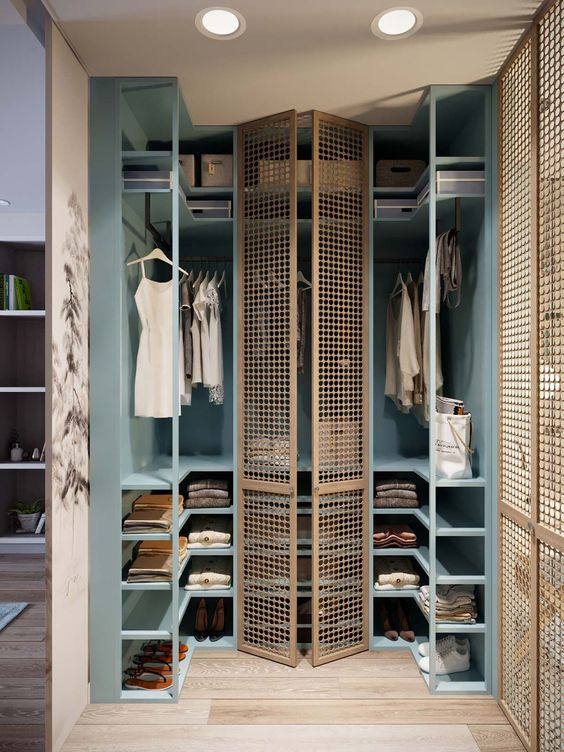 cornered walking closet, blue wooden shelves with rattan oor, wooden floor
