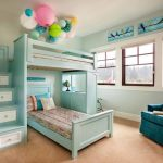 Custom Kids Bed Light Blue Bed Built In Shelves Built In Staircase With White Drawers Blue Armchairs Ceiling Decoratio Decorative Bedding Window Stool Pillows