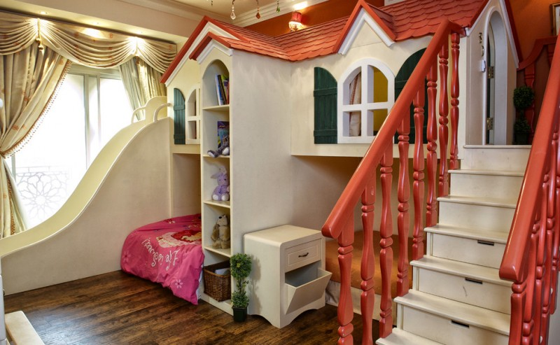 custom kids bed red railing staircase with drawers built in shelves playroom wooden floor white cabinet built in beds built in sliding glass winows valances curtains wall sconce