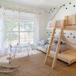 Custom Kids Bed White Walls White Curtains Windows Wheeled Wooden Bed Wooden Ladder Small Table White Small Chairs