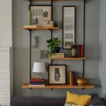 Floating Shelves With Industrial Pipes, Wooden Boards