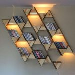 Floating Shelves With Triangle Wooden Blocks, LED Lights