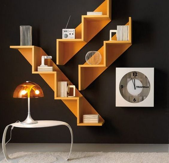 floating shelves with wooden stairs