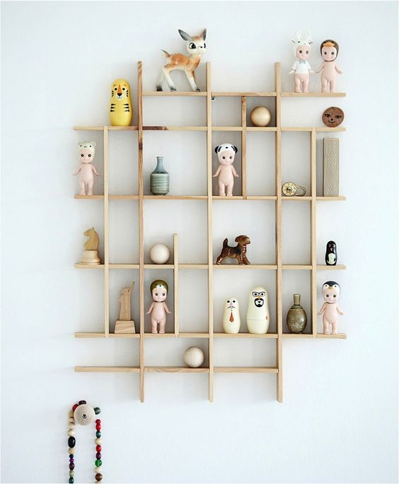 floating wooden shelves with small spaces