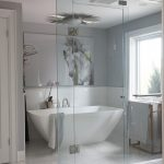 Giant Wall Art Ceiling Lamp Acrylic Freestanding Tub Window Glass Shower Doors Tub Filler Towel Holder Floor Tile Gray Wall