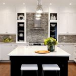 Glass Mosaic Backsplash Industrial Pendant Lamps White Cabinet White Countertop Apron Sink Faucet Windows Shelves Black Island White Stools Refrigerator Dishwasher Stovetop R