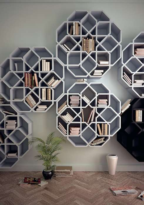 grey and black floating flower shaped bookcase