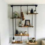 Hanging Shelves With Black Wire, Woden Boards