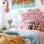 Kids Bedroom, Pink Rattan Headboard, White Wall, Wall Decoration