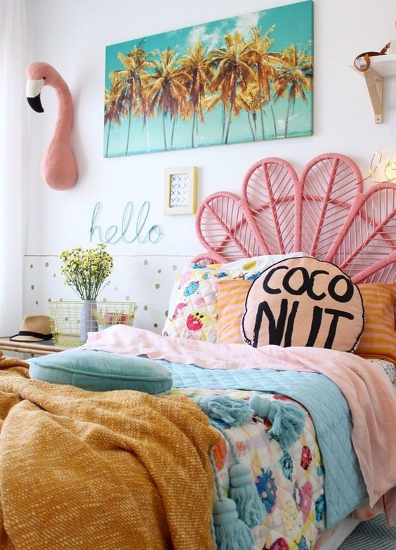 kids bedroom, pink rattan headboard, white wall, wall decoration