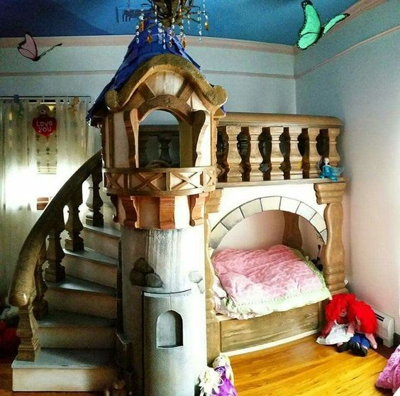 kids bedroom, wooden floor, blue wall, blue ceiling, tower bed with stairs and bridge