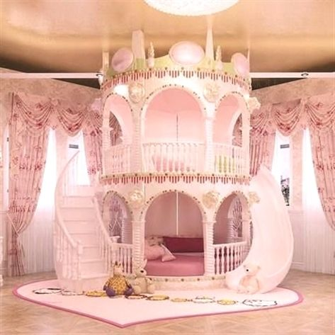 kids bedroom, wooden floor, pink curtain, white curtain, round bed platform with stairs and slide, round round floor