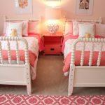 Kids Bedroom, Wooden Floor, White Bed Platform, Pink Wall, Pink Bedding, Pink Rug