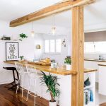 Kitchen, Beige Floor Tiles, White Wall And Ceiling, Wooden Beam, Wooden Post, White Cabinet Wooden Kitchen Top, White Wire Steel Chairs