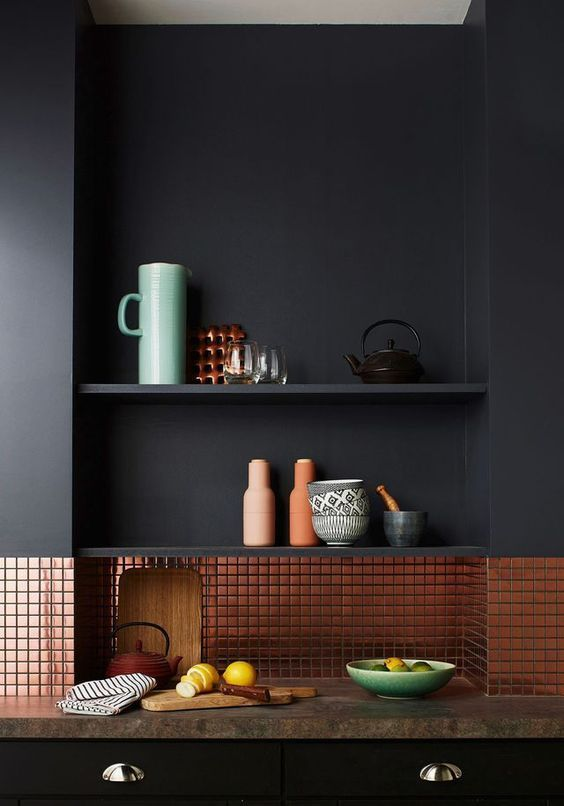 kitchen, black wall, black bottom cabinet, brown countertop, copper backsplash