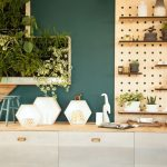 Kitchen, Brown Bottom Cabinet, Wooden Kitchen Top, Wooden Pegboards With Small Boards For Shelves, Green Wall, Mini Vertical Garden On The Wall