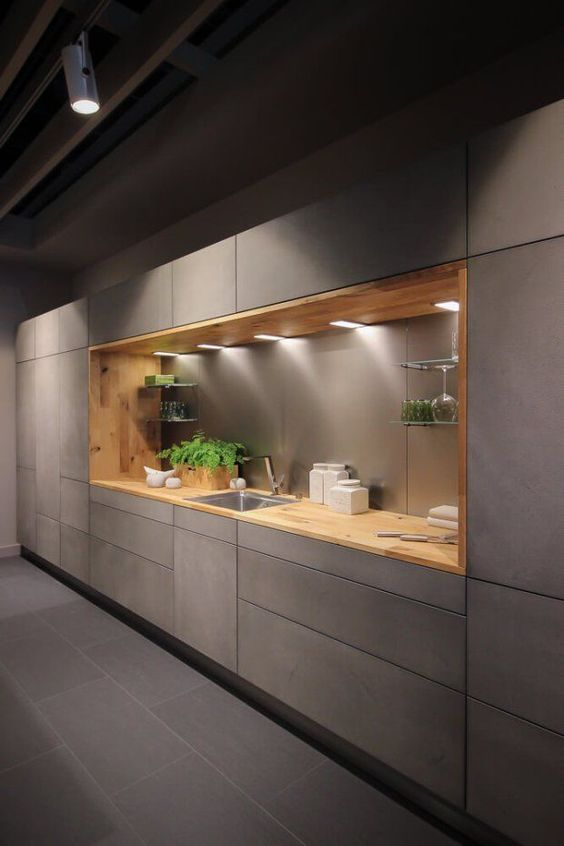 kitchen, grey floor, grey cabinet with indented area with wooden layer, wooden top, floating shelves