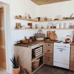 Kitchen, Seamless Floor, Wooden Bottom Cabinet, Wooden Top, Wooden Floating Shelves, White Wall, Wooden Ceiling