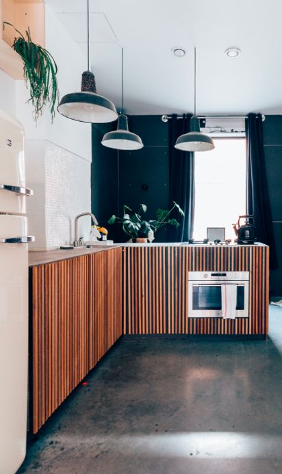 kitchen, seamless grey floor, white wall, white ceiling, green pendants, wooden slats cebinet, wooden top, grey curtain