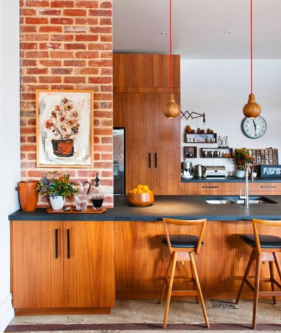 kitchen, wooden bottom cabinet, wooden pantry, black kitchen top, wooden pendant, wooden stool, open brick posts, white wall