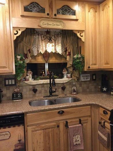 kitchen, wooden cabinet, backsplash, miniature on the indented backsplash with curtain, marble kitchen top