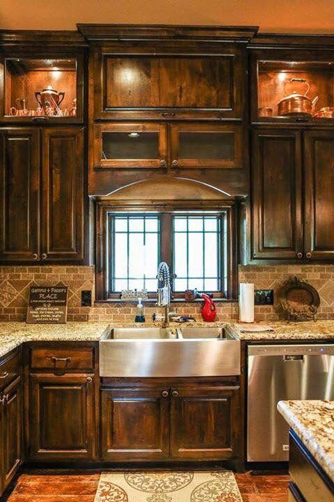 kitchen, wooden floor, brown backsplash tiles, marble kitchen top, wooden cabinet, window, apron steel sink