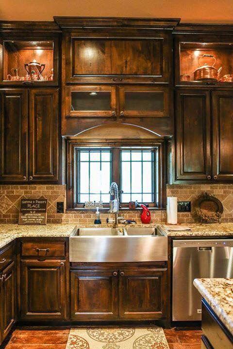 kitchen, wooden floor, brown backsplash tiles, marble kitchen top, wooden cabinet, window, apron steel sink