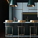 Kitchen, Wooden Floor, Dark Green Island, Blue Top, Blue Cabinet, Green Pendant With Golden Inside, Golden Chairs