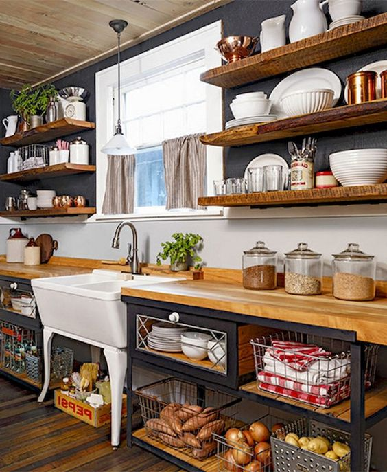 kitchen, wooden floor, open wooden bottom shelves with wire basket, white sink, white pendant, open floating shelves