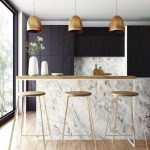 Kitchen, Wooden Floor, White Marble Backsplash, White Marble Island, Black Cabinet, Golden Pendants, Wooden Top, Wooden Stool