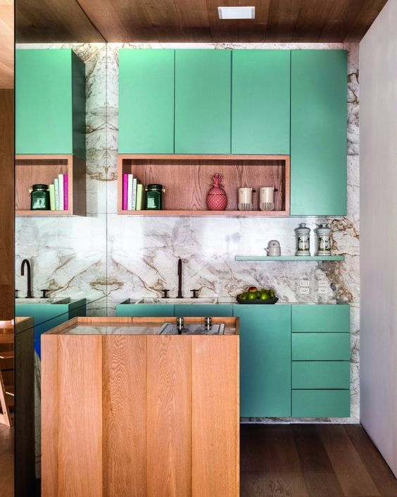 kitchen, wooden floor, white marble floor, wooden island, green cabinet, wooden shelves