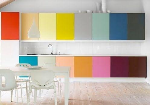 kitchen, wooden floor, white wall, colorful cabinet upper and bottom, white backsplash tiles, white dining set