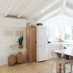 Kitchen, Wooden Floor, White Wooden Plank Wall, White Wooden Ceiling With Beams, White Wooden Bottom Cabinet, Wooden Table, Wired Stools